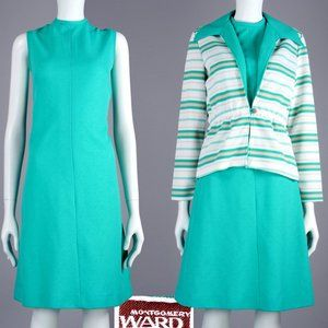 M Vintage 60s Turquoise Dress + Jacket Set MCM